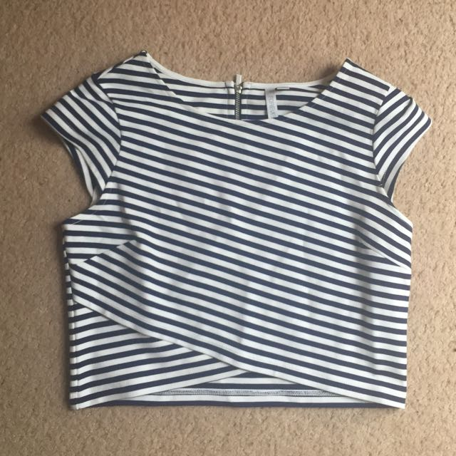 Forever New Navy Striped Crop Top Size 10