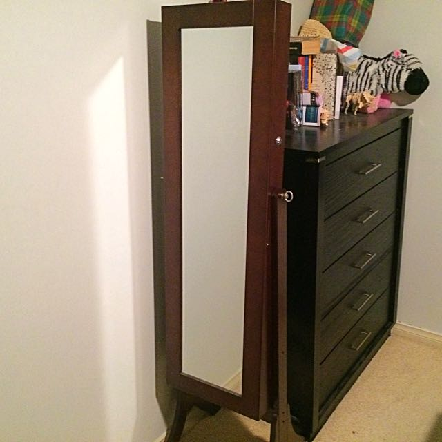 Full Body Mirror with Jewelry Cabinet
