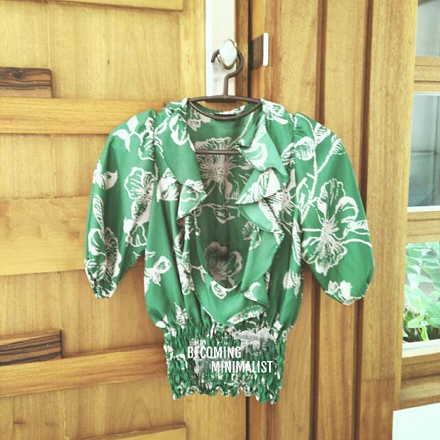 Green Satin Summery Blouse