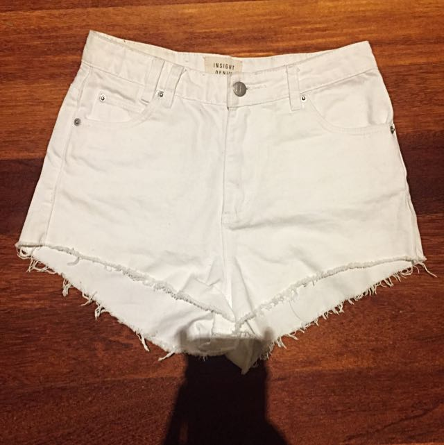 Insight Denim High Waisted Shorts (White)