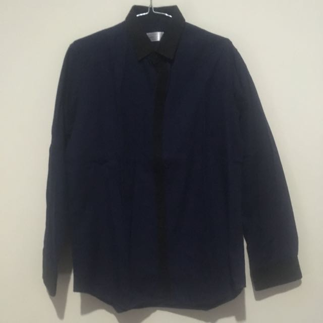 Jan Sober Navy Blue Casual Shirt