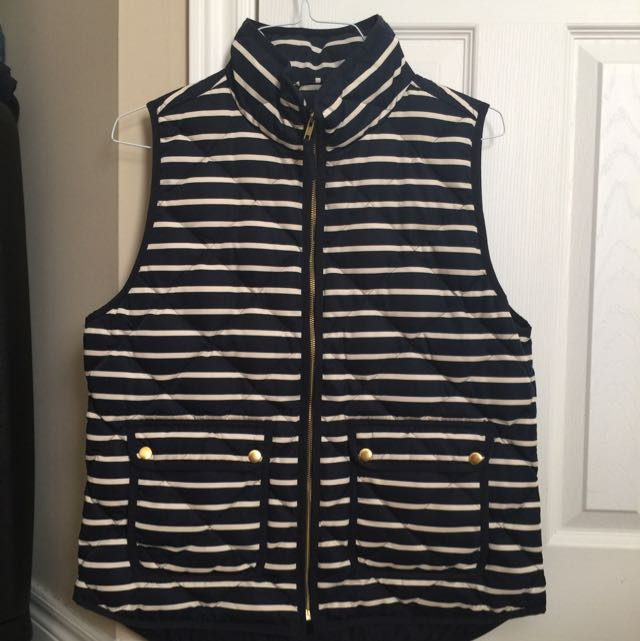 JCREW Excursion vest--blue and white stripes