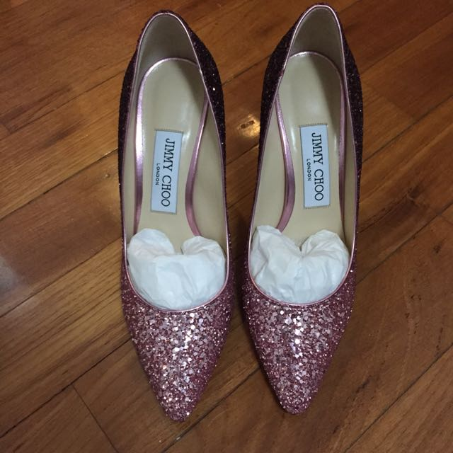 e661a9103fa Jimmy Choo Romy 85 Pink and Bordeaux Dégradé Coarse Glitter Fabric ...