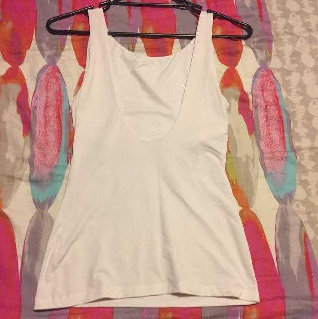 Kookai Low Back White Singlet Size 1