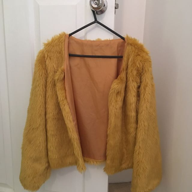 MARZIAS MUSTARD FURY COAT