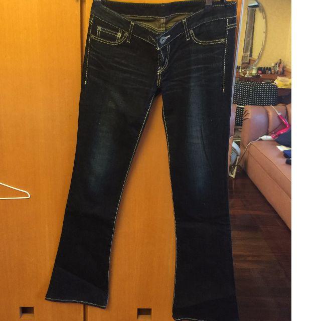 【保證真品】日本潮牌Moussy深藍色刷白顯瘦靴型褲
