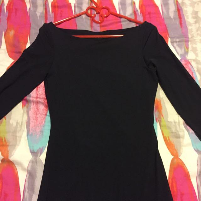Open Back Black Kookai Dress Size 1 Long Sleeve