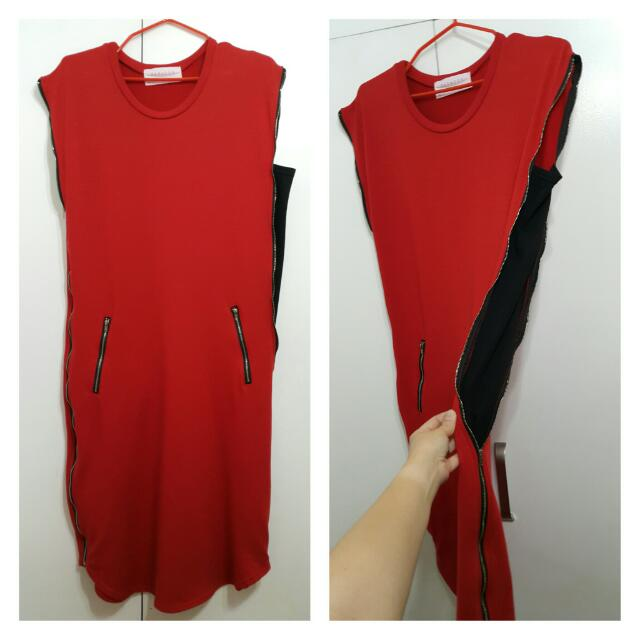 Paradox Red Dress With Adjustable Sides