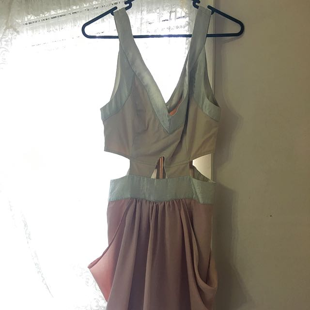 Pink Stitch Cut Out Dress