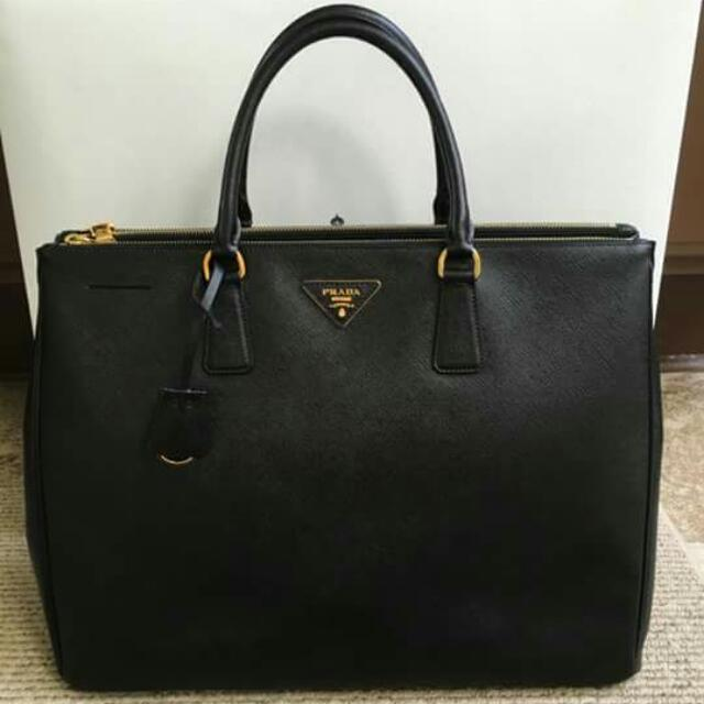 Prada Saffiano Executive Lux Tote BN1802 in Black with gold hardware
