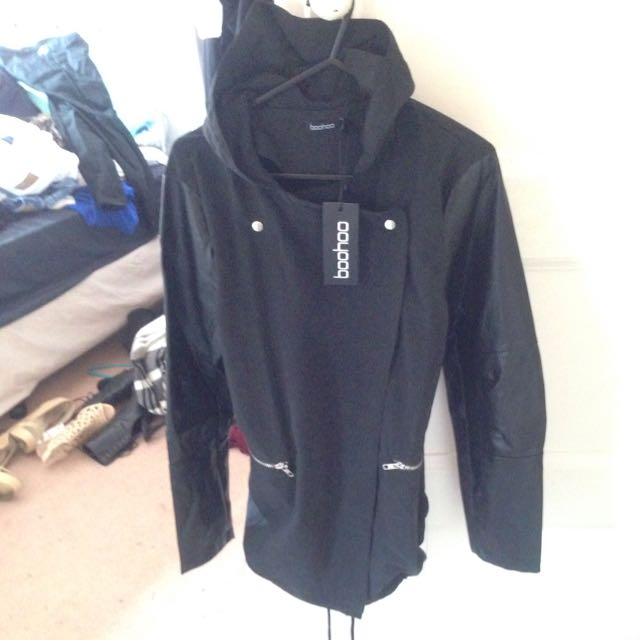 Size 10 BOOHOO Black Parka Hooded
