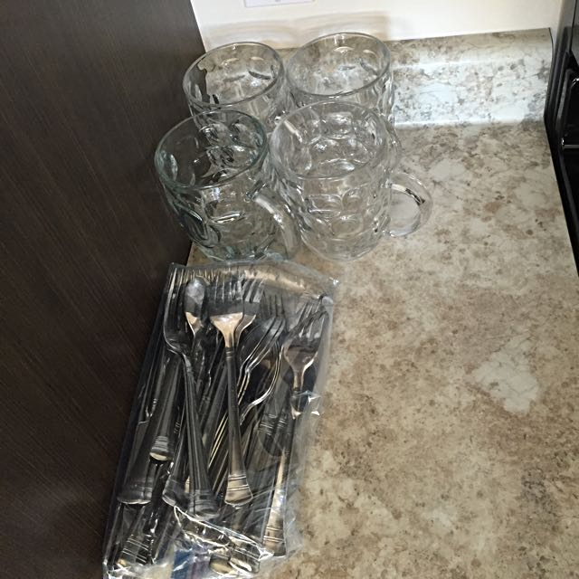 Stainless Steal Cutlery And Glass Mugs