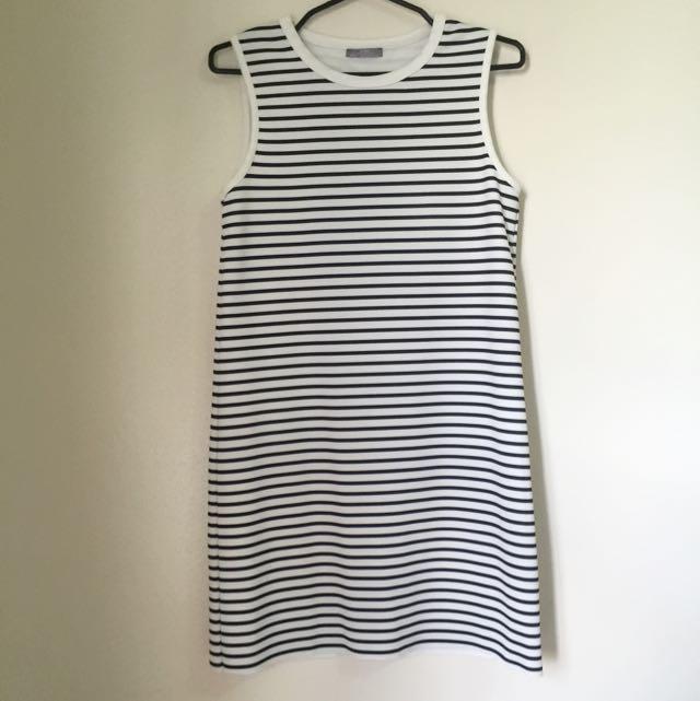 Zara Dark Blue And White Striped Dress
