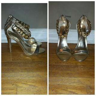 Gold Heels With Chain Strap Detail