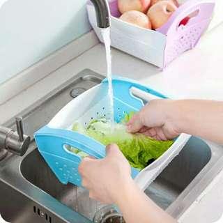 【廚房必備】可折疊瀝水籃 好收納