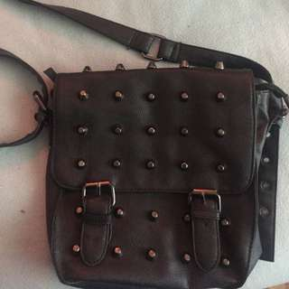 Cross Body Studded Leather Bag