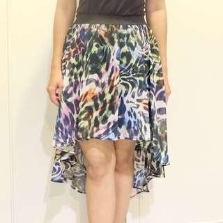 Abstract Animal Print Assymetric Skirt