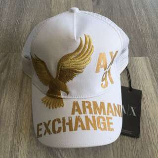 Armani Exchange White And Gold Baseball Cap
