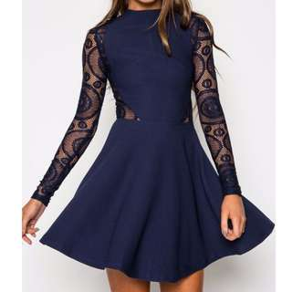 Navy Blue Lace Skater Dress with Long Sleeve Size 8