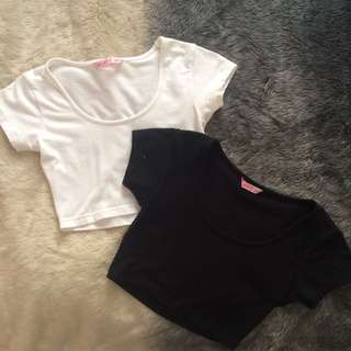 2 for $5 - Supré Scoop Neck Crop Tops in Black & White
