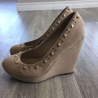 Bata Cream Suede Studded Wedge Heels