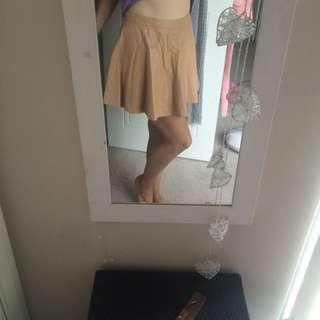Lovely Girl Leather Beige Skirt
