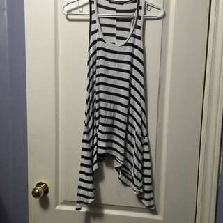 Brandy Melville Black And White Striped Tank