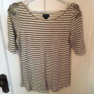 ANTHROPOLOGIE Striped Shirt With Should Detail