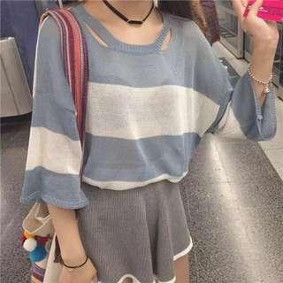 寬袖條紋藍白針織上衣