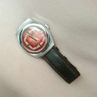 Acrojet Vintage Switzerland Made Red 21 Jewels Anti-Magnetic Calendar Watch