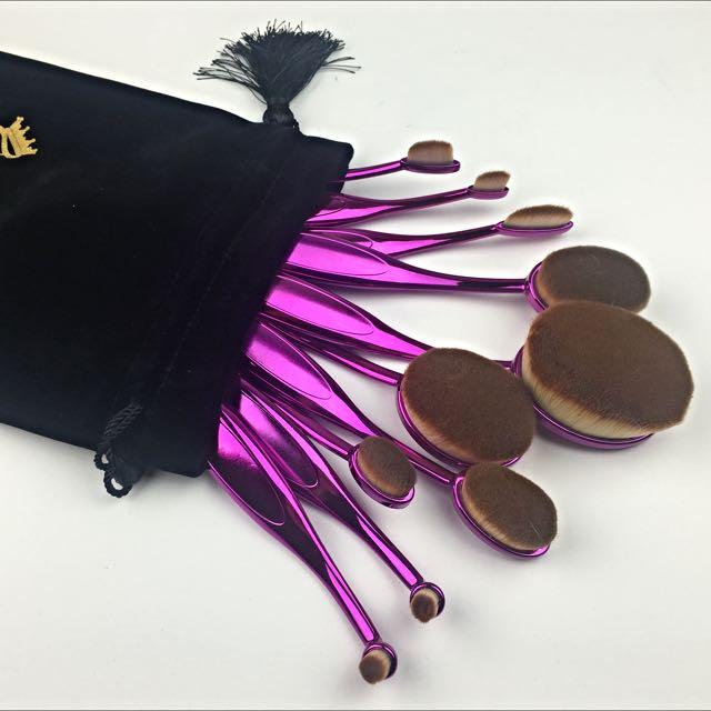 10 Pcs Oval Purple Toothbrush Foundation/Multipurpose Brush set