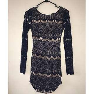 Blue Lace Tight Dress