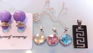 NEW Pendants Pink-Blue-Beige- FREE Purple earrings