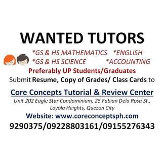 Wanted Tutors In Katipunan, QC (in Front Of Ateneo Gate 3)