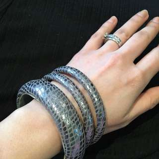 Silver - Grey Bangle Set