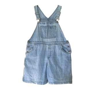 🔹淺藍胸前口袋古著牛仔吊帶短褲🔹