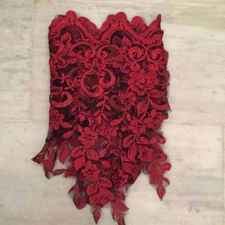 Broad Red Embroidery Lace (TB575)