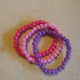 Pink & Purple Beaded Bracelet (Gelang)
