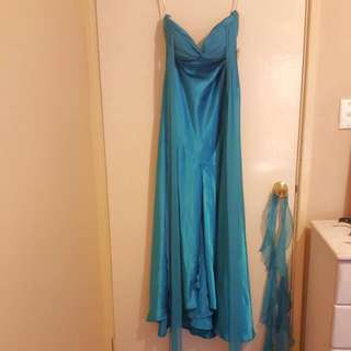 Blue Silk Ball Gown Size 10 (Intangible)