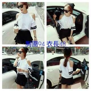 韓版 性感時尚 條紋袖 露肩短T