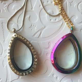 Silver Or Multi Coloured Teardrop Floating Charm Locket
