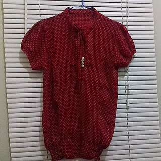 Top Red Polka  Material : Sifon  Size : Fit To L local brand  *No Deffect   Please Chat Me For Detail,  Thanks Carousell