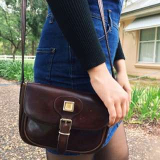 Vintage Retro Dead stock Leather Dark Brown/burgundy Clutch Purse Bag Satchel
