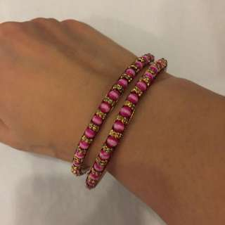 Bangle Pink beads And Gold Plated