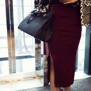 ❤️酒紅針織金鍊側開叉長裙