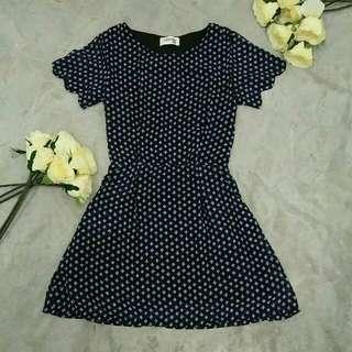 Navy Blue Dress In Pattern