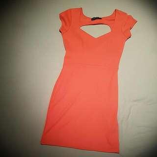 Boohoo Coral Sweetheart Dress Size 8