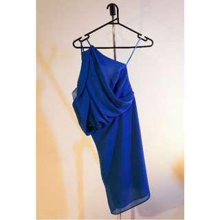 Size 8 ASOS PETITE One Shoulder Dress with Drape Front