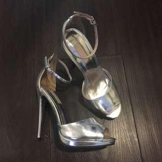 Topshop Silver Ankle Strap Stilettos - Size 36