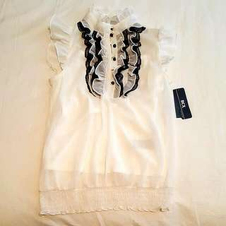 High Neck Top With Lace Accents